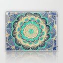 Midnight Bloom - detailed floral doodle in gold, navy blue & mint by micklyn