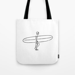Long Board Surfer Sketch Tote Bag