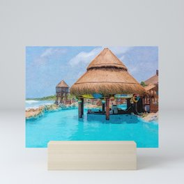 Swim up bar at Costa Maya | Painting Mini Art Print