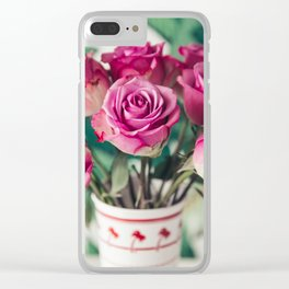 Purple Roses Against Banana Palms Clear iPhone Case