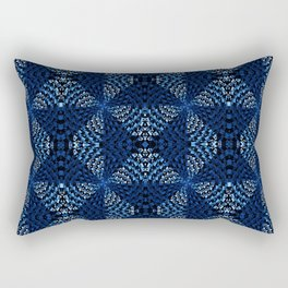 Indigo Blues Geometric Magic Quilt Print Rectangular Pillow