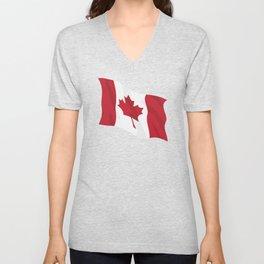 Canada Flag Waving Illustration Unisex V-Neck