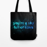 coldplay Tote Bags featuring Sky Full of Stars by Berlyn Komar