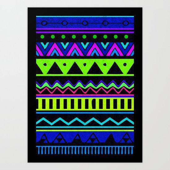 Colouful Aztec Art Print