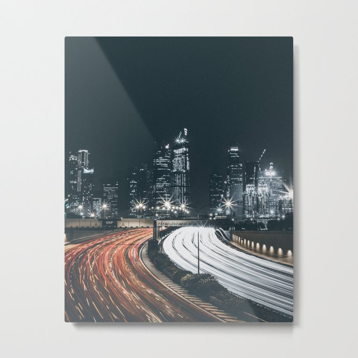 Night city long exposure Metal Print