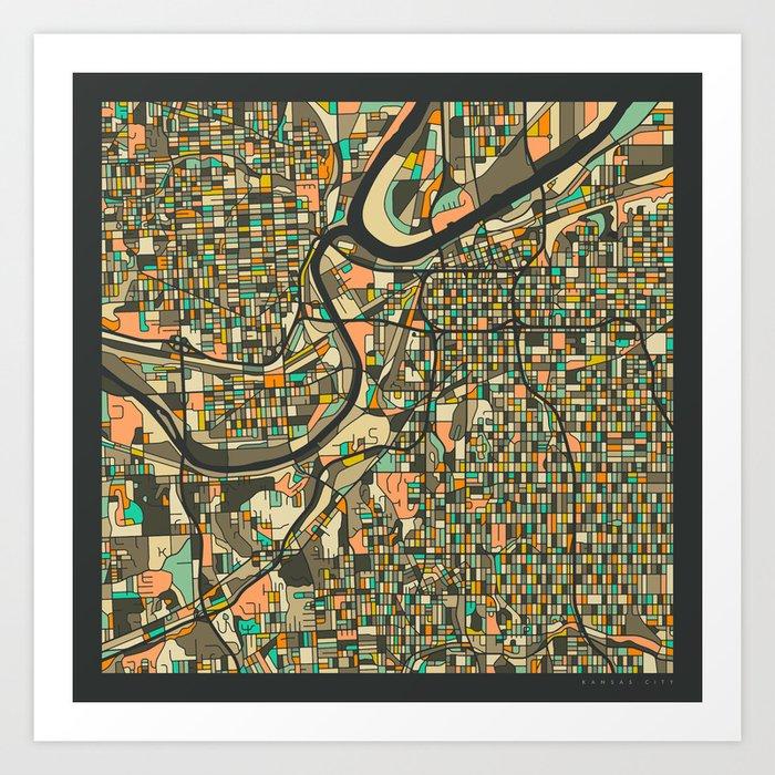KANSAS CITY MAP Art Print By Jazzberryblue Society - Kansas city map