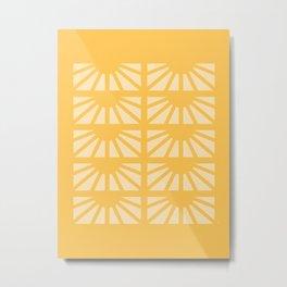 Sunshine Window Pattern - Yellow Metal Print