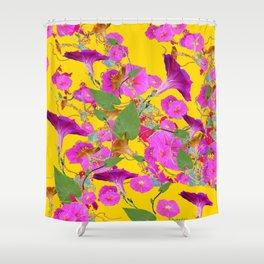Pink Morning Glories on Golden Yellow Art Design Shower Curtain