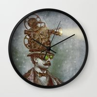suit Wall Clocks featuring The Projectionist (colour option) by Eric Fan