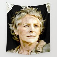the walking dead Wall Tapestries featuring Carol The Walking Dead by TARA SCHLAYER