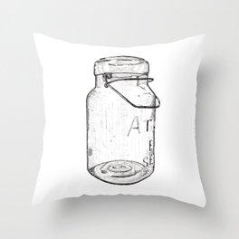Atlas Jar Line Drawing Throw Pillow