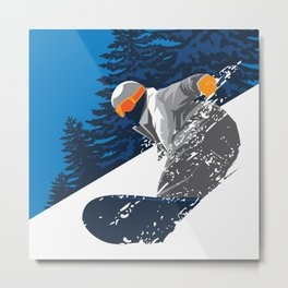 Snowboard Powder Snow Metal Print