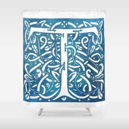 Letter T Elegant Vintage Floral Letterpress Monogram Shower Curtain