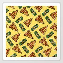 Pizza & Beer Love Art Print