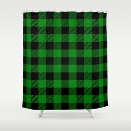 Green Buffalo Plaid Shower Curtain