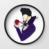 evil queen Wall Clocks featuring Evil Queen  by Swell Dame