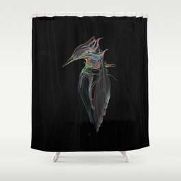 Kingfisher 1d. Color lines on black background-(Red eyes series) Shower Curtain