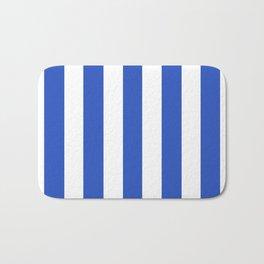 Cerulean blue - solid color - white vertical lines pattern Bath Mat