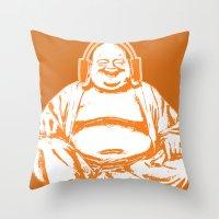 buddah Throw Pillows featuring Buddah Beats by ALLGOLD Creative