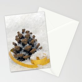 Fir Cones in Snow With Gold Ribbon Stationery Cards