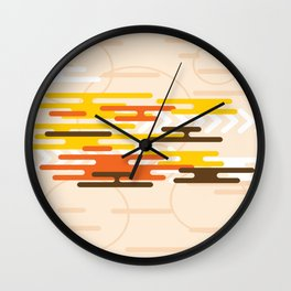 RED, YELLOW AND BLACK ON A PALE PEACH BACKGROUND Abstract Art Wall Clock