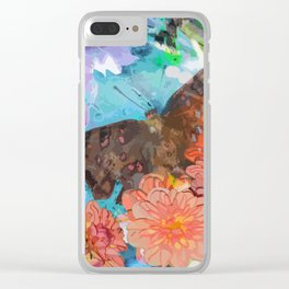 Butterfly among flowers Clear iPhone Case
