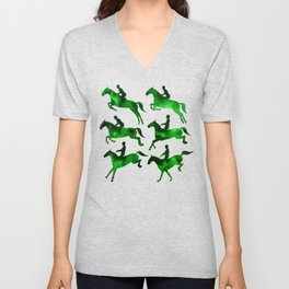 Watercolor Showjumping Horses (Green) Unisex V-Neck