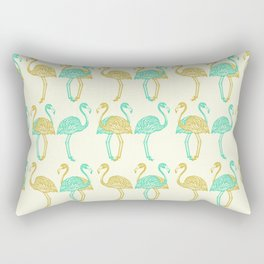 American Flamingos (olive & green) Rectangular Pillow