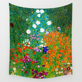 Gustav Klimt - Flower Garden Wall Tapestry