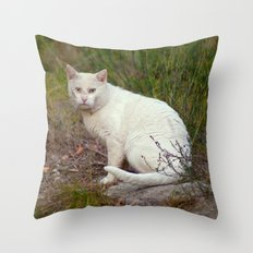 Wild White Cat 435 Throw Pillow