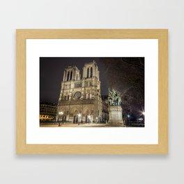 Notre Dame de Paris and Charlemagne Framed Art Print