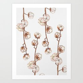 Cotton flower paper texture Art Print