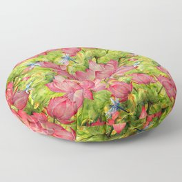 Floral Lotus Flowers Pattern with Dragonfly Floor Pillow