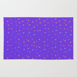 St. Valentine's Day Pattern. Lilac pattern, blue and yellow small hearts Rug