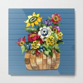 A Basket of Flowers Metal Print
