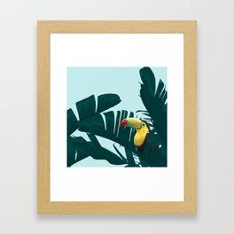 Green Toucan Tropical Banana Leaves Pattern Framed Art Print