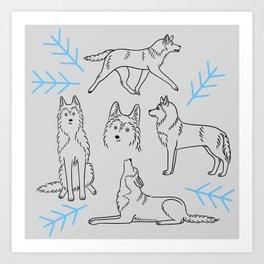 Siberian Husky Pattern (Light Gray) Art Print