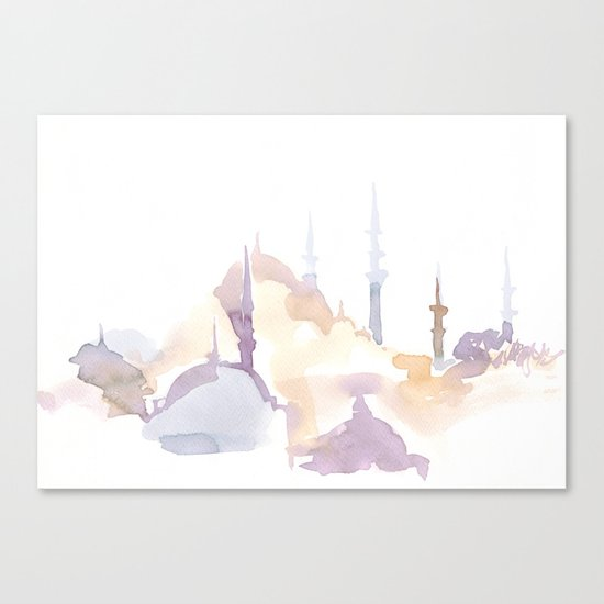 Watercolor landscape illustration_Istanbul - Saint Sophia Canvas Print