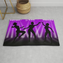 Dancing Girls On Purple With White Lights Rug