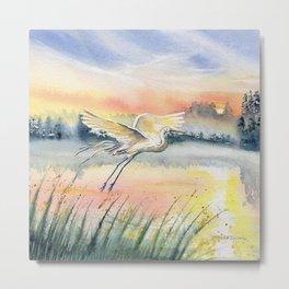 Egret-Flying in The Dawn Metal Print