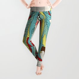 quirky bohemian boho tree, leaves and feather fantasy woman / girl Leggings