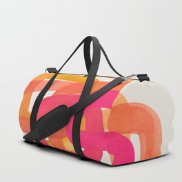 Funky Retro 70' Style Pattern Orange Pink Greindent Striped Circles Mid Century Colorful Pop Art Duffle Bag