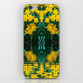 YELLOW DAFFODILS TURQUOISE PATTERNED GARDEN iPhone Skin