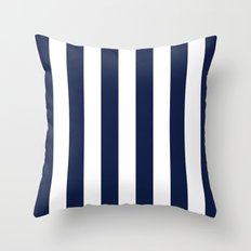 Blue Indigo Navy Stripes Vertical Throw Pillow