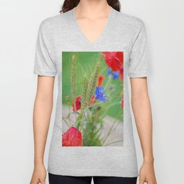 Bunch of of red poppies Unisex V-Neck