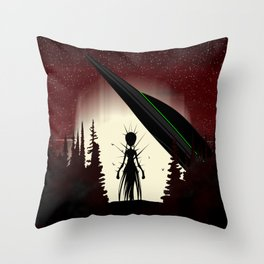 Aliens in the Forest Throw Pillow