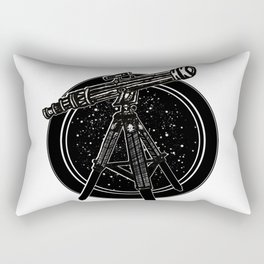 Exploring the unknown, Old Telescope, Tripod, Lens, stars Rectangular Pillow