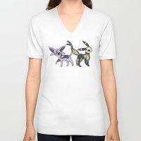 umbreon V-neck T-shirts featuring Espeon & Umbreon Anatomy by Logan Niblock