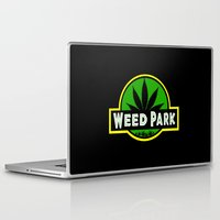 jurassic park Laptop & iPad Skins featuring Weed Park Jurassic style  by Spyck