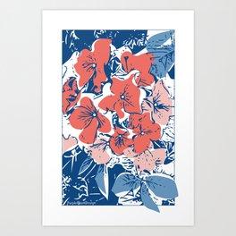 Retro Hydrangea Art Print